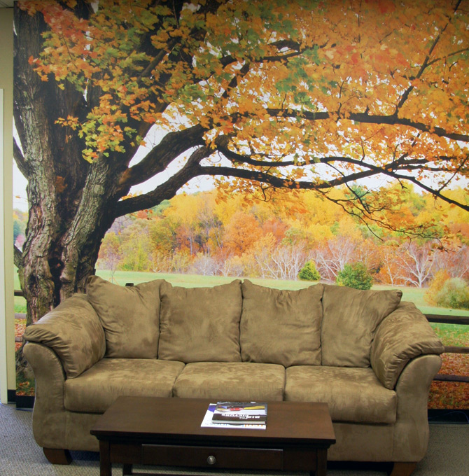 Lounge Mural Fall Leaves