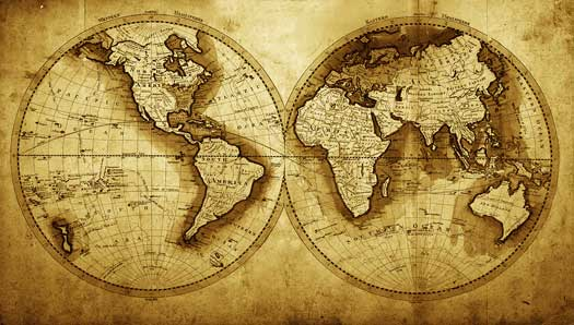 Our totally custom world map murals bring the world to for Antique world map wall mural