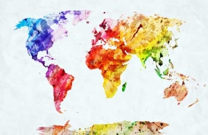 Artistic World Map Mural - Artistic world map