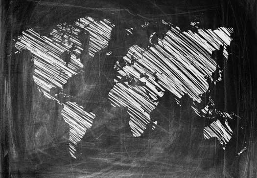 Chalk Art World Map Mural