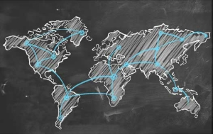 Chalk World Map Mural