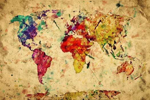 Our totally custom world map murals bring the world to for Classic mural painting