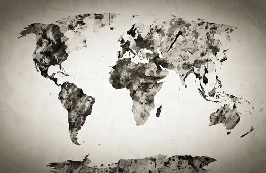 black & white world map mural