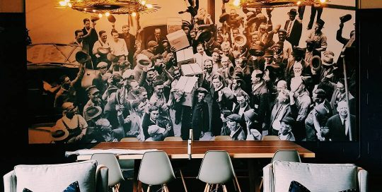 restaurant wall decor, restaurant mural, black and white photo mural, old photo mural, historic photo mural, commercial wall decor, commercial photo mural