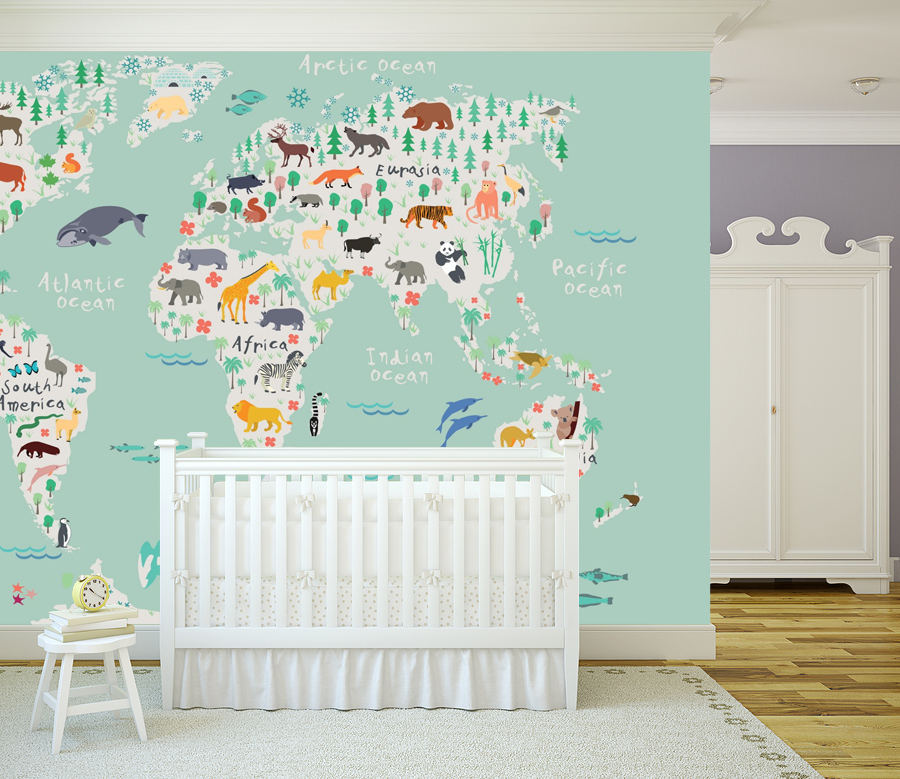 nursery wallpaper, custom nursery wallpaper, gender neutral nursery, custom nursery mural, custom map mural, map wallpaper, childrens wallpaper