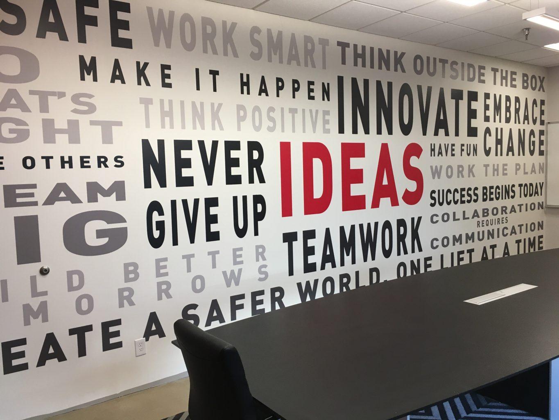 motivational words wallpaper, motivational wallpaper, corporate wall mural, office wallpaper, custom office mural, custom words wallpaper,