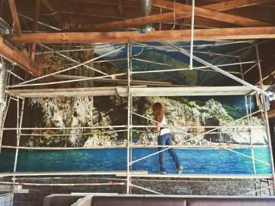 Installing Large Wall Mural, Custom Wall Mural, Beach Photo Mural, Custom Photo Mural,