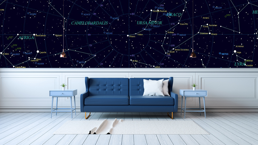 Custom Wallpaper, Custom Constellation Wallpaper, Living Room Wallpaper, Constellations Wallpaper,